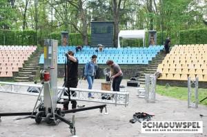 De opbouw van het projectiescherm.    (Foto: Peter Deen)